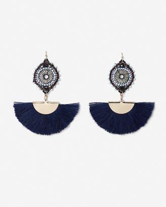 Express Beaded Circle Fringe Tassel Drop Earrings