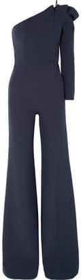 Safiyaa - Ardenia One-shoulder Stretch-crepe Jumpsuit - Midnight blue