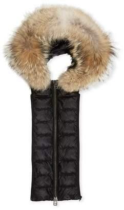 Veronica Beard Puffer Hoodie Dickey with Fur Trim