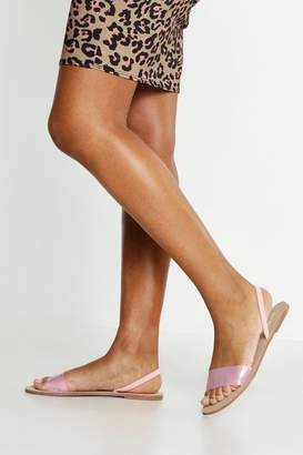 boohoo Clear Sling Back Flat Sandals