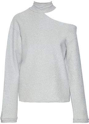 6d821f5b192 RtA Langley One-shoulder Metallic Cotton-blend Terry Sweatshirt