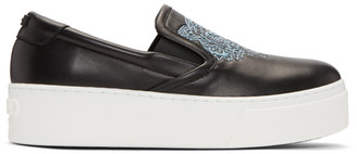 Kenzo Black K-PY Tiger Platform Slip-On Sneakers $335 thestylecure.com