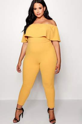 boohoo Plus Off The Shoulder Ruffle Jumpsuit
