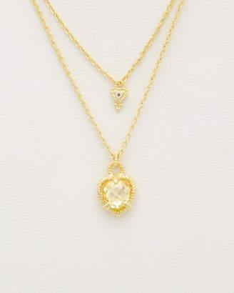Judith Ripka 14K Over Silver White Topaz & Cz Double Strand Necklace