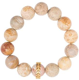 Cathy Waterman 22kt gold light fossilized coral wheat overlay bracelet