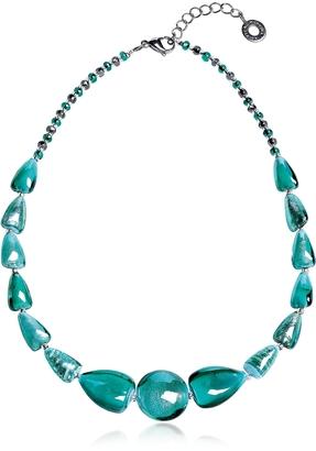 Antica Murrina Marina 2 Basic - Turquoise Green Murano Glass and Silver Leaf Choker $125 thestylecure.com
