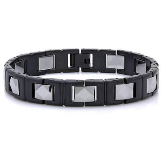 FINE JEWELRY Mens Two-Tone Black IP Stainless Steel with Tungsten Chain Bracelet