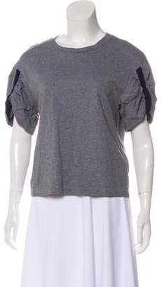 3.1 Phillip Lim Ruch-Accented Short Sleeve T-Shirt Grey Ruch-Accented Short Sleeve T-Shirt
