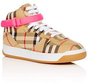 Burberry Girls' Groves Vintage Plaid High-Top Sneakers - Toddler, Little Kid