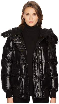 The Kooples Technical Satin and Faux Fur Women's Coat