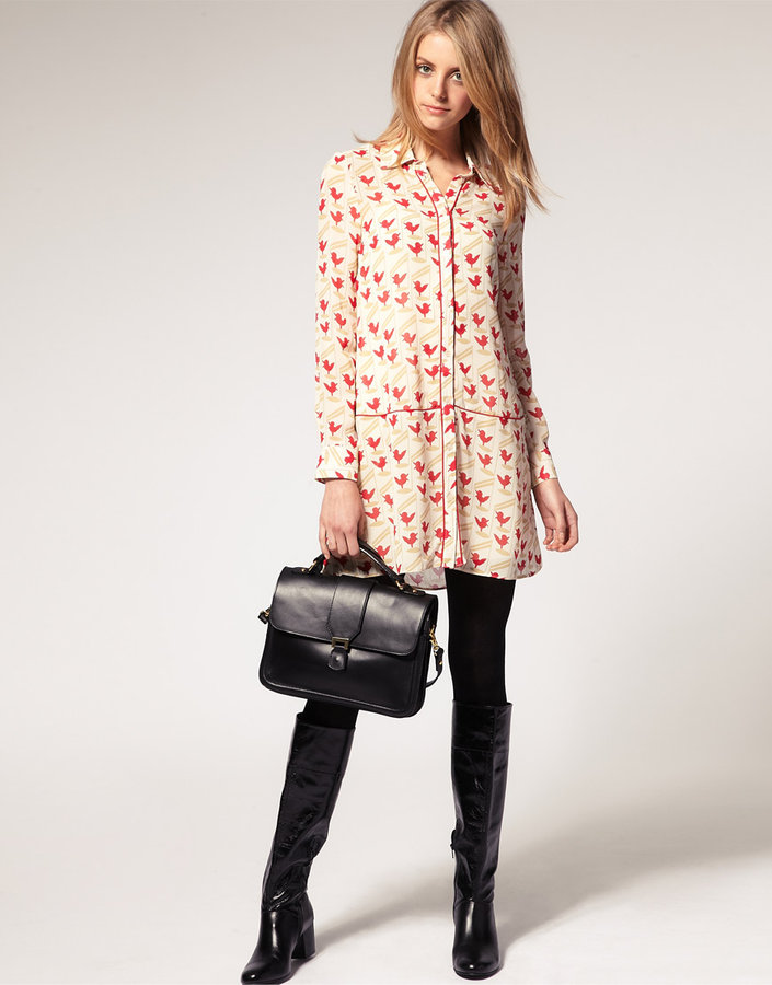 ASOS Shirt Dress in Bird Print