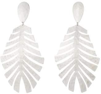 Josie Natori Buffed Brass Leaf Earrings