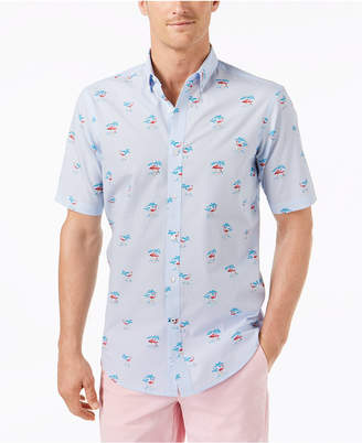 Club Room Men's Stripe Flamingo-Print Shirt, Created for Macy's