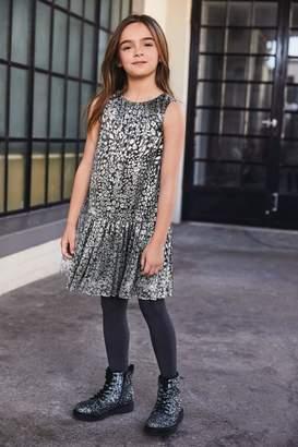 Next Girls Silver Animal Print Dress (3-16yrs) - Silver