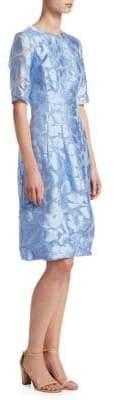Lela Rose Holly Elbow Sleeve Fit-&-Flare Dress