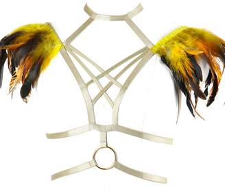799a5d9f7e7 BANSSGOTH Feather Cage Harness Bralette Crop Top Epaulettes Gold Shoulder  Wings