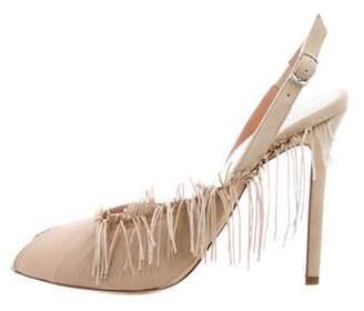 Maison Margiela Fringe-Accented Slingback Sandals w/ Tags