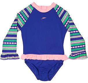 Speedo New Surf Girls Tots Girls Flounce Sun Suit Polyester Fun Stripe Bambola