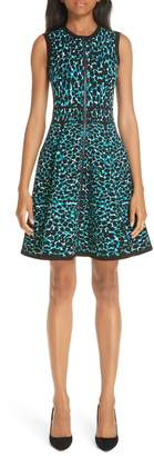 Michael Kors Leopard Print Zip Front Fit & Flare Dress