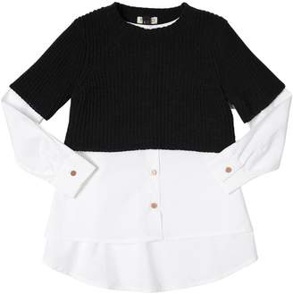 Kenzo Cotton Poplin & Rib Knit Top