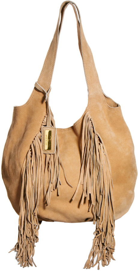 River Island Tan Fringed Suede Slouch Hobo Bag