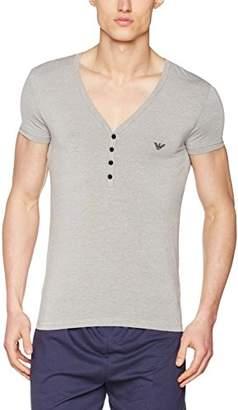 Emporio Armani Intimates Men's Knit Plain V-Neck Short Sleeve Jumper, Grey (Bronzo/Bianco)