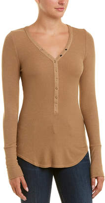 Three Dots Lena Rib Henley Top