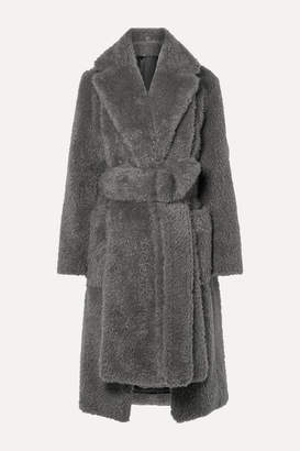 Helmut Lang Belted Faux Fur Coat - Gray