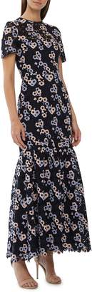 ML Monique Lhuillier Embroidered Lace Evening Dress