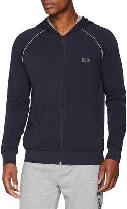 HUGO BOSS BOSS Mix & Match Hooded Sweat Top in Navy With Grey Trim XL