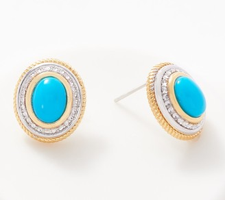 Cabochon Gemstone Earrings, Sterling Silver & 14K Plated