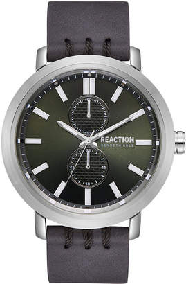 Kenneth Cole Reaction Men's Gray Faux Leather Strap Watch 45mm