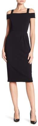 London Times Side Ruched Solid Scuba Crepe Dress