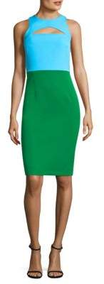 Milly Luna Colorblock Cut-Out Sheath Dress