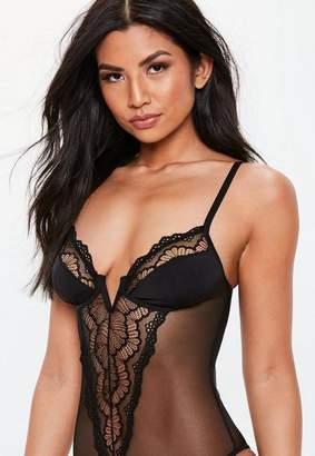 Missguided Black V Bar Lace Panel Bodysuit