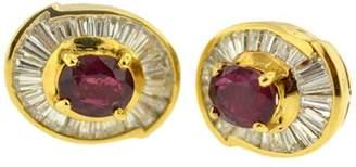 14K Yellow Gold Genuine Ruby And Diamond Stud Earrings