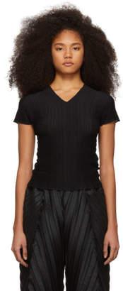 Issey Miyake Black Pleated V-Neck T-Shirt