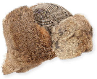 Neiman Marcus Wool-Blend Glen Plaid Trapper Hat, Beige