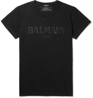 Balmain Slim-Fit Logo-Print Cotton-Jersey T-Shirt - Black