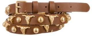 Haute Hippie Leather Embellished Wrap Around Belt Brown Leather Embellished Wrap Around Belt