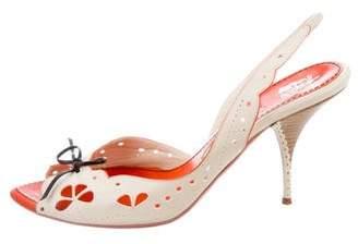 Nina Ricci Leather Peep-Toe Sandals