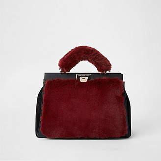 River Island Dark red faux fur triple compartment bag