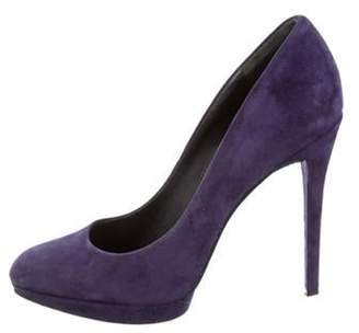 Brian Atwood Suede Round-Toe Pumps Purple Suede Round-Toe Pumps