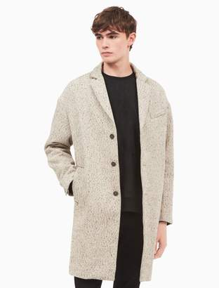Calvin Klein oversized speckled wool cotton coat