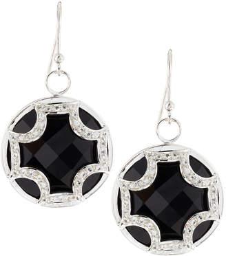 Elizabeth Showers Black Onyx Sapphire Maltese Cross Dangle & Drop Earrings