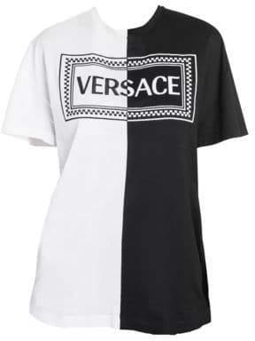 Versace Bicolor Cotton Logo Tee