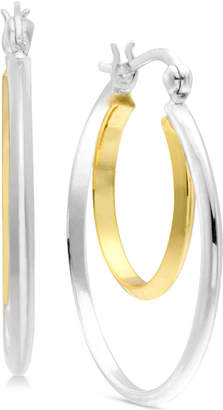 Essentials Medium Two-Tone Double Hoop Earrings in Silver- & Gold-Plate