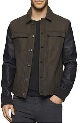 Calvin Klein Jeans Men's Wool Leather Mixed Media Trucker Jacket