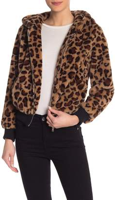 Love Tree Leopard Faux Fur Bomber Jacket