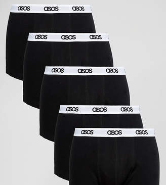 Asos Trunks In Black With Branded Waistband 5 Pack SAVE